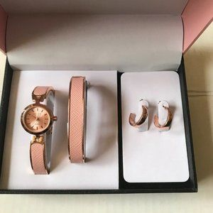Accessories - Watch Bracelet Bangle Earrings Set Rose